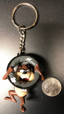 TAZ Tasmanian Devil Keychain Looney Toons Warner Bros 1995 Hard Plastic, NEW