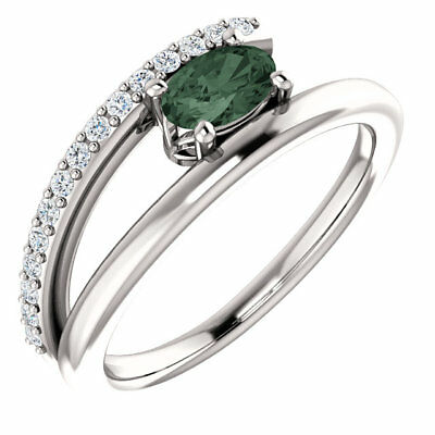 Chatham® Created Alexandrite & 1/8 CTW Diamond Bypass Ring In 14K White Gold