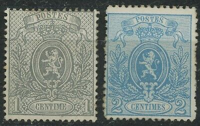 BELGIUM STAMPS 1866 1867 1c GREY PERF 15, 2c BLUE PERF 14, VF MINT OG