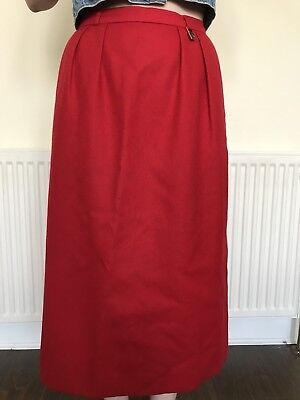 Red wool Burberry pencil skirt, size 8, vintage - vgc