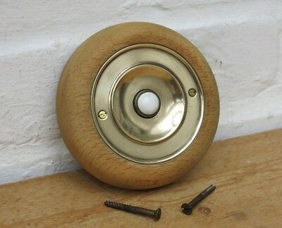 Vintage BRASS & CERAMIC Door Bell Push with Wooden Pattress (READY TO FIT)
