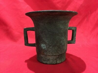 Antique Bronze Brass Mortar & Pestle With 2 Handles On Sides 12 Cm Height