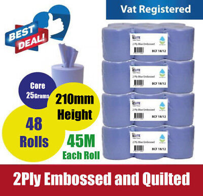48 Rolls (8 PACKS)Blue Centre feed Rolls Embossed 2ply Wiper Paper Towel 45M