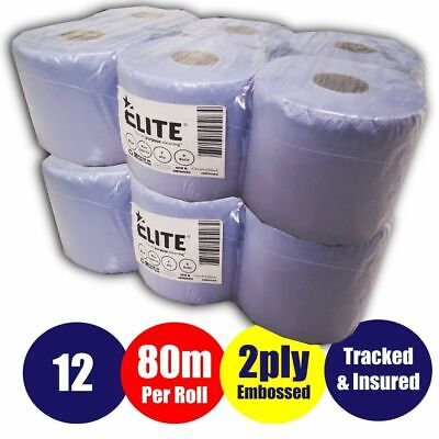 (2 packs)12 rolls Blue Centre feed Rolls Embossed 2ply Wiper Paper Towel