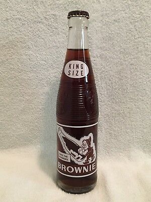 FULL 10oz KING SIZE BROWNIE ROOT BEER ACL SODA BOTTLE 7up SEVEN-UP BOTTLING CO.