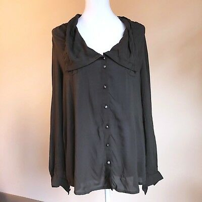 03bc2f37 Odille Anthropologie Womens Sz 8 Olive Green Button Down Drapy Flowy Shirt  Top