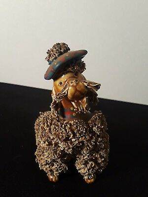 Vintage Spaghetti Porcelain Brown 1950's French Poodle with Beret Napco Japan