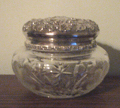 Antique Cut Glass Vanity Jar with Stieff Sterling Silver Top