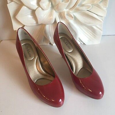 6ba34fcd9c Kelly & Katie Bright Red Patent Leather Classic Pumps Low Heels Size 7.5 NEW