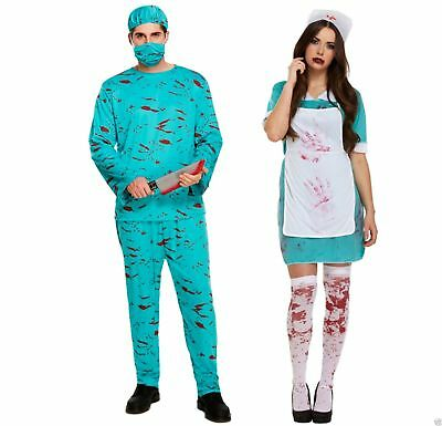 Bloody Zombie Nurse Doctor Surgeon Halloween Uniform Fancy Dress Unisex Costume
