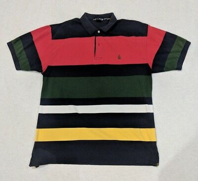 bc41fe48 Nautica Striped Polo Rugby Collared 90's Short Sleeve size XL *RARE VINTAGE