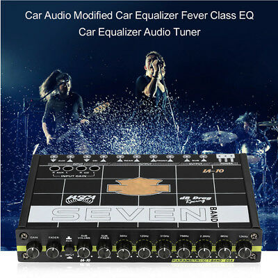 Car Equalizer 7 Band Graphic Equalizer Aux Inputs 7V RCA Outputs 12dB Crossover
