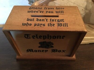 TELEPHONE VINTAGE WOODEN MONEY BOX 1960s MADE IN ENGLAND