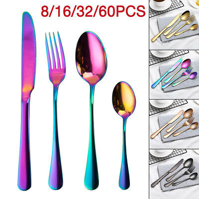 16 32 60 Pcs Stainless Steel Cutlery Sets Black Rose Gold Knife Fork Spoon