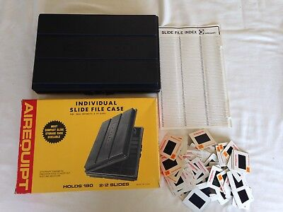 """Vintage Airequipt Individual Slide File Case holds 180 2"""" x 2"""" with 77 Slides??"""
