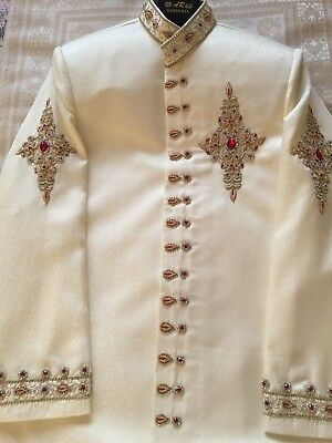 Mens Formal Asian Waistcoat Jacket Sherwani Eid/ Wedding Nikkah Walima Cream