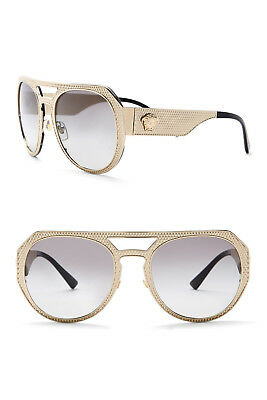 7bf793a1ded New Autehntic VERSACE VE2175 Browbar Pale Gold Women s Sunglasses Made in  Italy