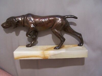 Antique Bronze German Shorthaired Pointer Dog Sculpture with Marble Base 10''