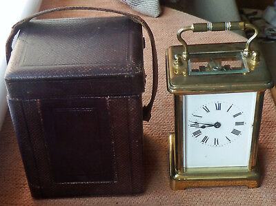 Early Brass Carriage Clock With Travelling Case