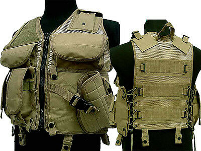 Tactical TVE Combat Vest Molle Magazine Holster Airsoft Paintball Military Tan