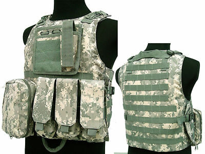 Tactical Assault Molle Combat Vest Magazine Pouch Airsoft Paintball Military ACU