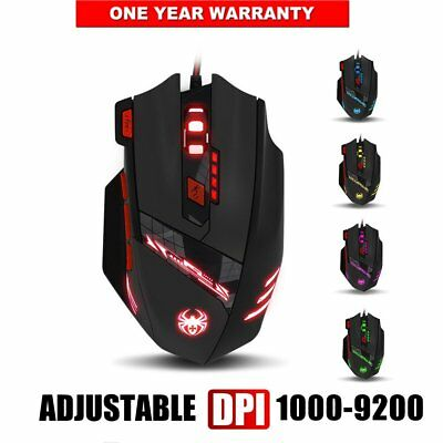 Zelotes 9200DPI LED Wired USB Optical Backlight Gaming Mouse Support PC & Laptop