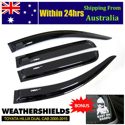 Weathershields Window Door Visor for Toyota Hilux 2005-2015 Dual Cab w/ Sticker