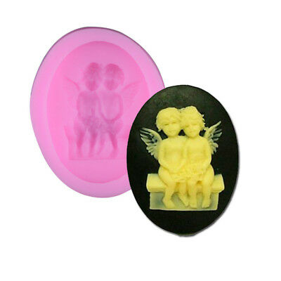 3D Silicone Pair Angel Mold Fondant Mould Sugar Craft Soap Cake Decorating Tools