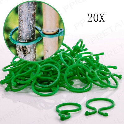 20x Ring Plant Ties Reusable Support Clips Flower Bush Vine Tree Cable Holder