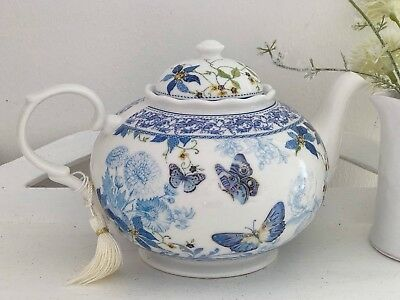 Shabby Vintage Chic Butterfly Porcelain Fine China Floral Teapot Wedding Gift