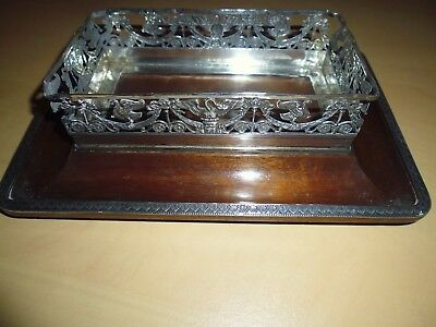 French Antique Solid Silver And Walnut Vide Poche Or Inkwell Stand Empire