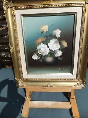 Original oil Painting on Canvas by S Leigh Framed Still Life Flowers In vase