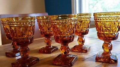 Six Vintage Retro Square Footed Amber Sherry / Port Glasses