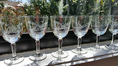 Six Vintage Etched Sherry / Port Glasses