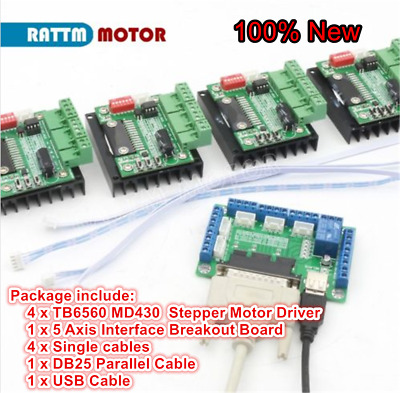 5 Axis Nema23 Stepper Motor Breakout Board+4pc MD430 TB6560 Driver Board CNC Kit