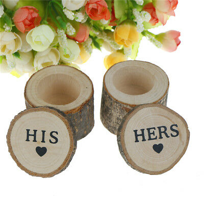 2pcs/set Wooden Rustic Wedding Engagements Ring Box Bearer Ring Holder Case Gift
