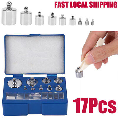 17Pcs 10mg-100g Grams Precision Calibration Weight Digital Scale Set Steel Kit