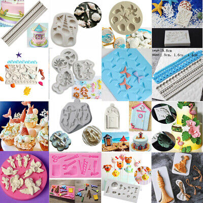 Beach Sea Silicone Fondant Cake Mold Ocean Animals Decorating Baking Icing Mould