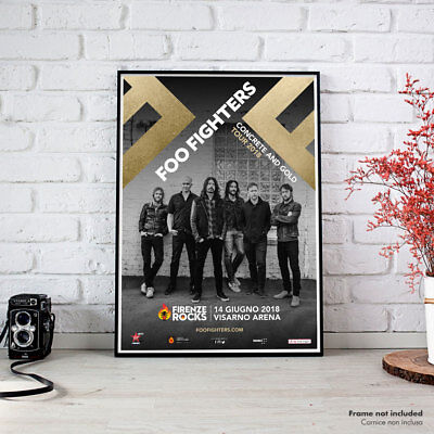 Foo Fighters | Firenze Rocks 2018 Fine Art Poster HR Manifesto Concrete and Gold