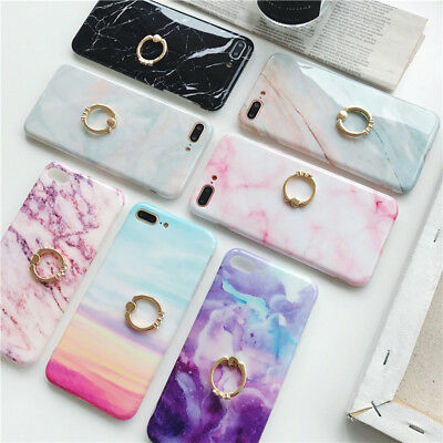 For iPhone X 8 7 6 Plus TPU Rubber Case Marble Skin Cover With Ring Stand Holder