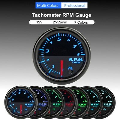 12V 2'' 52mm 7 Color LED Car Motor RPM Tacho Tachometer Gauge Meter Pointer