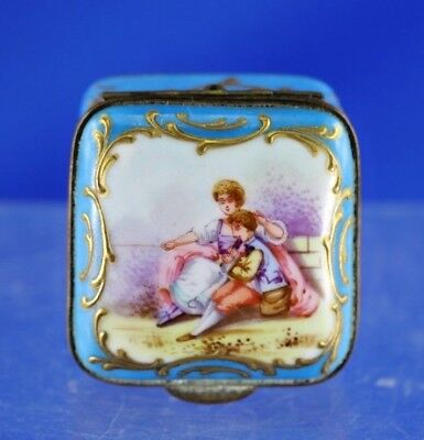 Antique Sevres Type Hand Painted Porcelain Pill Box With Classic Design