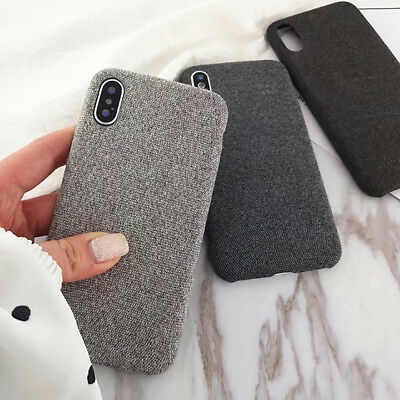 Vintage Ultra-thin Cotton & Linen Cloth Phone Case For iPhone X 8 7 6 Back Cover