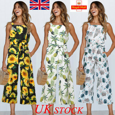 Uk Womens Summer Floral Wide Leg Jumpsuit Holiday Bandage Long Pants Playsuit