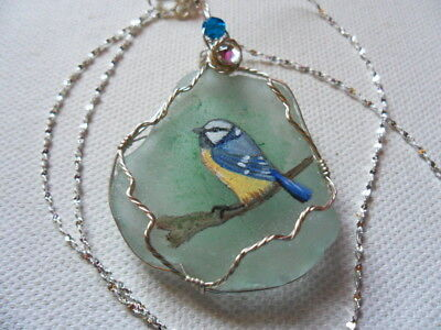 """Blue tit on branch seaglass necklace hand painted to order 18"""" silver chain"""