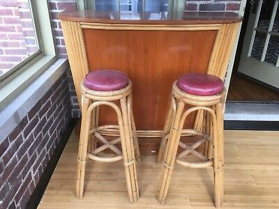 Wondrous Vintage Bamboo Rattan Tiki Bar 2 Stools 1940S Philippines Gmtry Best Dining Table And Chair Ideas Images Gmtryco