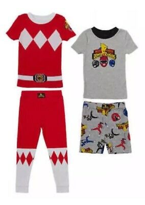 Red Power Rangers 4 Piece Pajama Set Pjs Shirts Pants Shorts Toddler Size 3T NWT