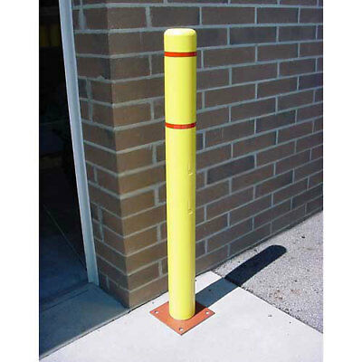 """Bollard Cover, 7""""x 60"""", Yellow Cover with Red Tapes, Lot of 1"""
