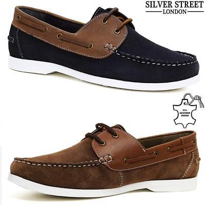 New Mens Leather Lace Up Casual Moccasin Loafer Driving Boat Deck Shoes Size