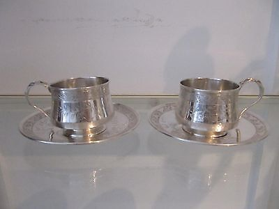 Gorgeous 1880 french sterling silver 2 tea cups art nouveau business card 279g